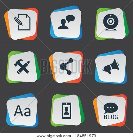 Vector Illustration Set Of Simple Newspaper Icons. Elements Cedilla, Broadcast, Site And Other Synonyms Considering, Megaphone And Broadcast.