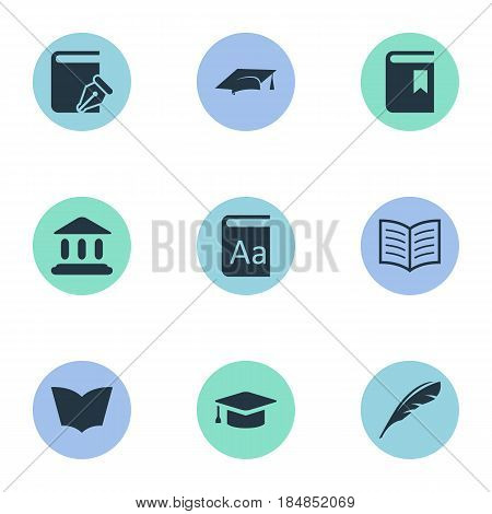 Vector Illustration Set Of Simple Reading Icons. Elements Alphabet, Academic Cap, Plume And Other Synonyms Building, Hat And School.