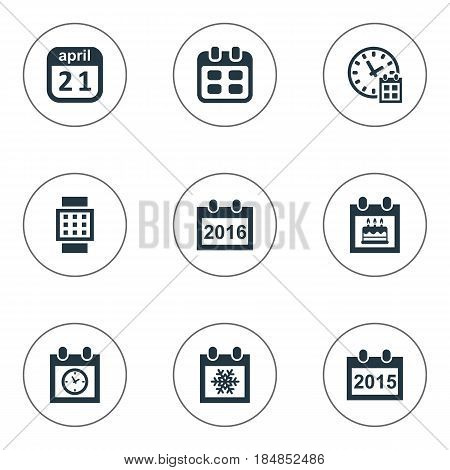Vector Illustration Set Of Simple Time Icons. Elements Annual, Remembrance, Snowflake And Other Synonyms Hour, April And Agenda.