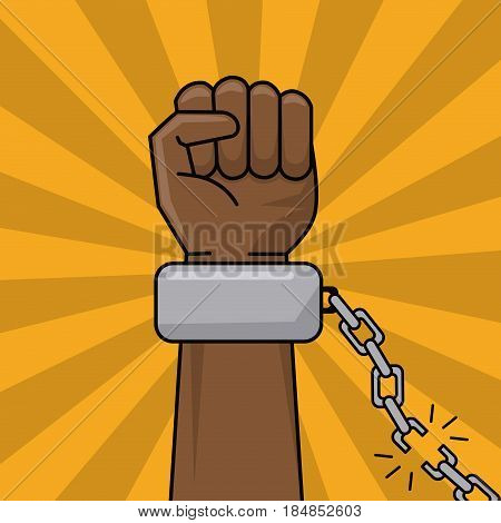 black hand and chain broken freedom concept vector illustration