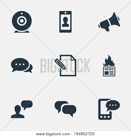 Vector Illustration Set Of Simple User Icons. Elements Gazette, Argument, Gossip And Other Synonyms Speaker, Loudspeaker And Megaphone.