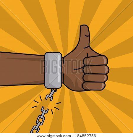 black hand thumbs up chain broken image vector illustration