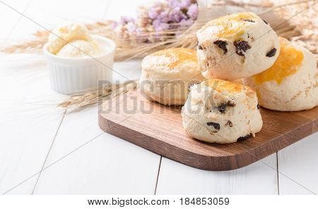 Scones On Wood Block With Barley