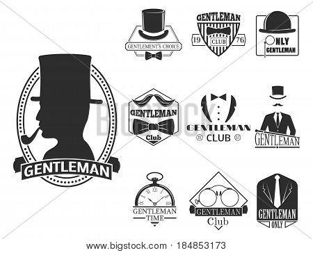 ade63709404 Vintage style design hipster gentleman logo vector illustration badge  antique graphic design mustache element. Premium
