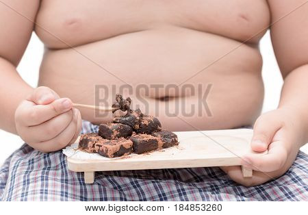 Nama Chocolate On Obese Boy Hand Isolated