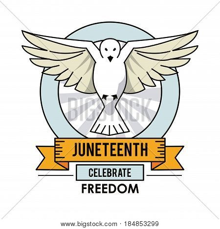 juneteenth day dove fly celebrate freedom label vector illustration