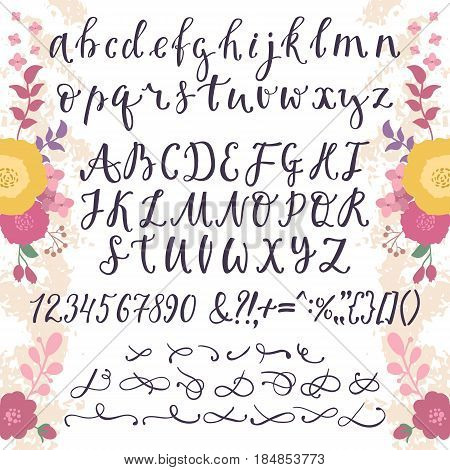 Calligraphic vector font with numbers ampersand and symbols flower hand drawn alphabet lettering. Creative floral graffiti handwritten type abc typography vintage script