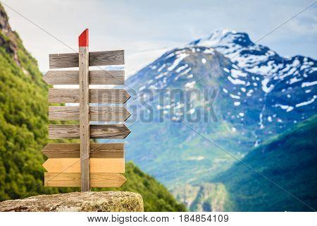 Wooden Sign In Norwegian Mountains.