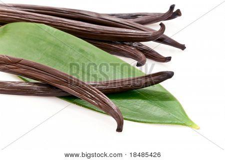 Fresh vanilla pods with a green leaf.