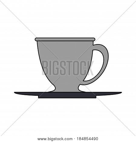 colorful silhouette gray dish porcelain with cup vector illustration