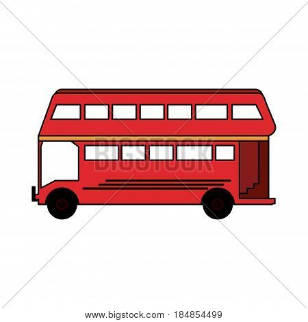 colorful silhouette red two floor bus transport vector illustration