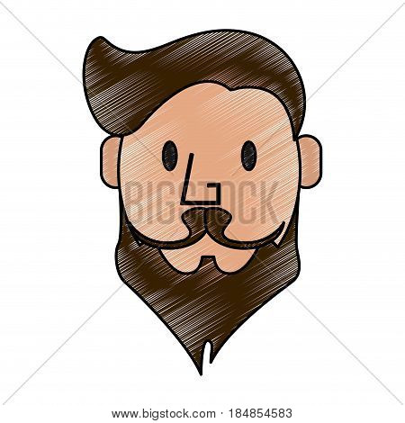 color pencil front face caricature old man with long beard and moustache vector illustration