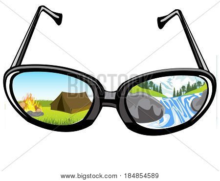 Reflection of the landscape of the nature in glass spectacles