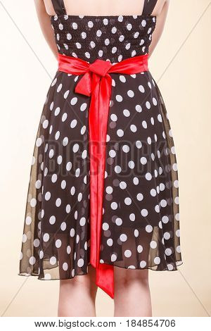 Retro Dotted Dress With Red Bow