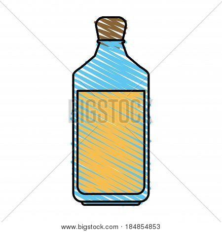 color crayon stripe glass bottle with olive oil vector illustration