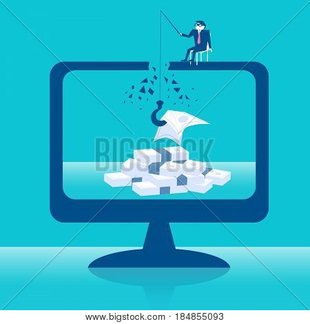 business with thief steal money concept on the blue background