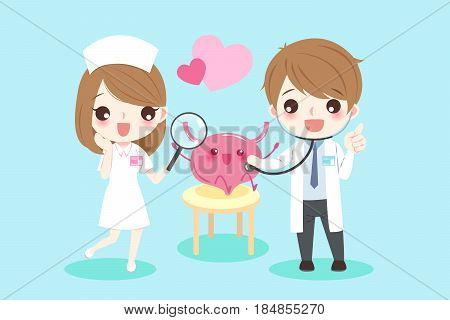 cute cartoon doctors with bladder for your health concept