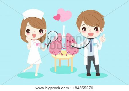 cute cartoon doctors with lungs for your health concept