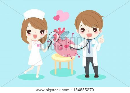 cute cartoon doctors with heart for your health concept