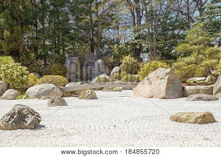 Japanese garden. background of a contemplative garden of stones
