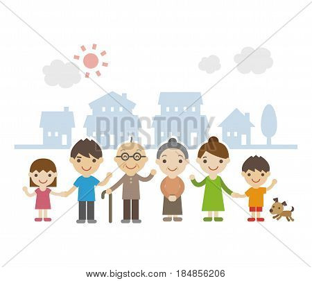 Three Generation Family Standing Together smiling in front of houses