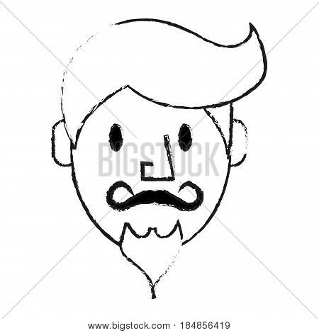 blurred silhouette front face caricature old man with moustache vector illustration