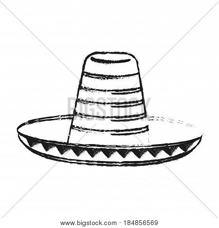 blurred silhouette mexican hat accesory costume vector illustration