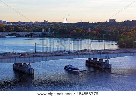 Washington DC panorama near Potomac River in early autumn. City sunset near Potomac River.