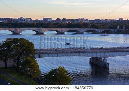 Washington DC panorama near Potomac River. A view on bridges across the river and Alexandria Virginia.