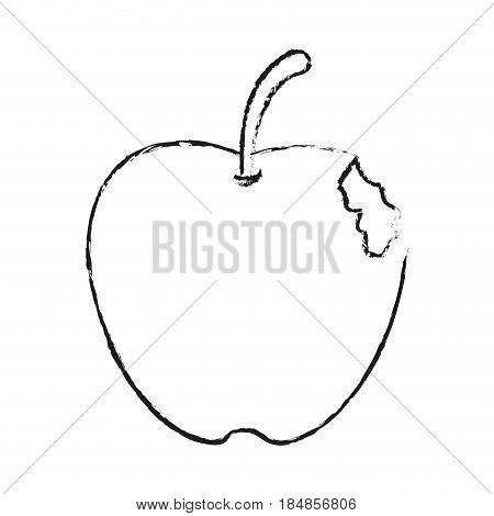 blurred silhouette bitten apple fruit vector illustration
