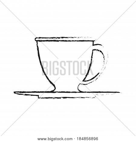 blurred silhouette dish porcelain with cup vector illustration