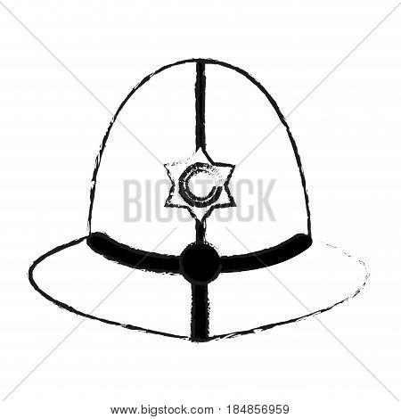 blurred silhouette traditional helmet of metropolitan British police officers vector illustration