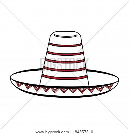 sketch color silhouette mexican hat accesory costume vector illustration