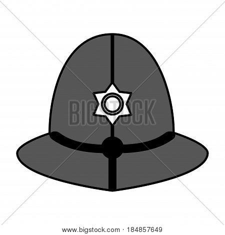 sketch color silhouette traditional helmet of metropolitan British police officers vector illustration