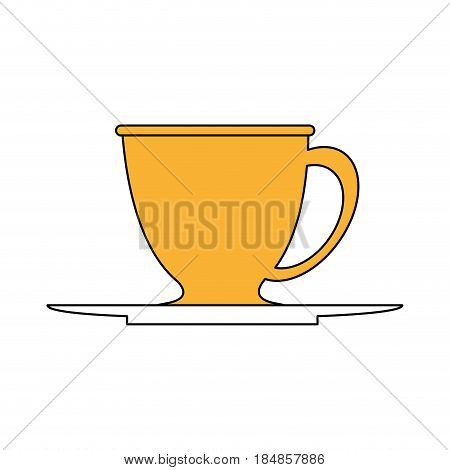 sketch color silhouette dish porcelain with cup vector illustration