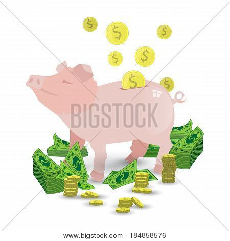 A Pig Of A Pink Piggy Bank With A Pile Of Gold Coins