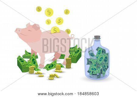Pig Pink Piggy Bank With A Stack Of Gold Coins