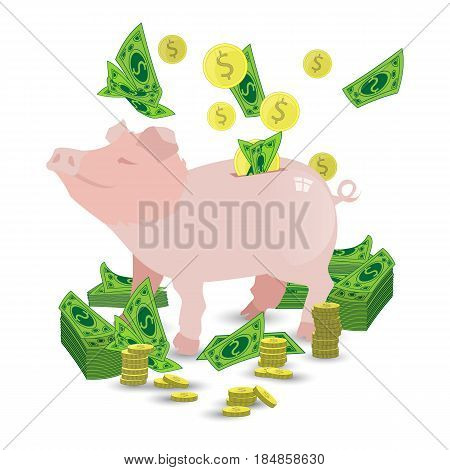 Pig Pink Piggy Bank With A Pile Of Gold Coins