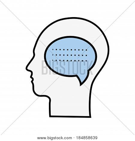 line silhouette head with chat bubble inside, vector illustration
