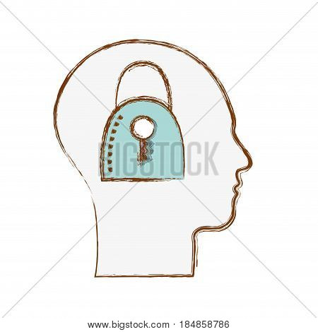 line silhouette head with padlock inside, vector illustration