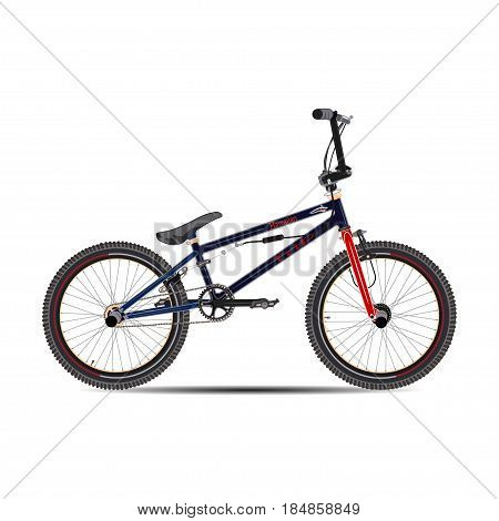 Vector illustration of BMX bike. Street style BMX bicycle flat style design element isolated on white background.