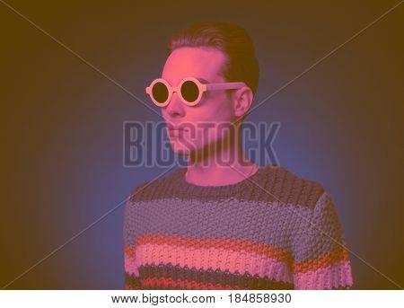 Fashionable One Young Man Portrait, Vintage Color Effect