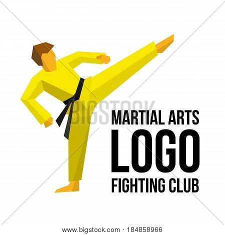Logo template for martial arts club or gym. Karate or kickboxing fighter training. Athlete in kimono with black belt training. Simple vector illustration. Sport emblem isolated on white.