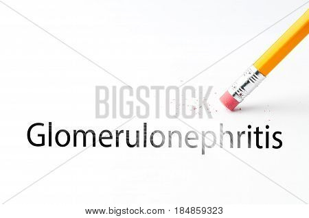 Closeup of pencil eraser and black glomerulonephritis text. Glomerulonephritis. Pencil with eraser.
