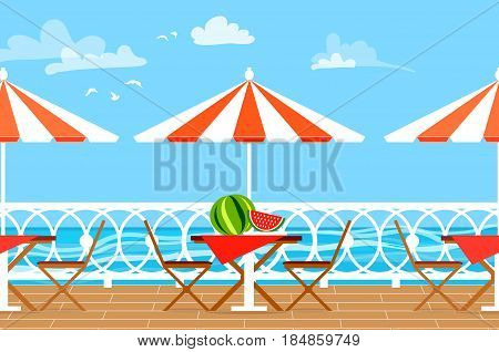 Restaurant House Patio With Garden Chairs and Table with umbrella on the terrace balcony. View over the sea. Water landscape. Picnic with watermelon. Flat style vector illustration.