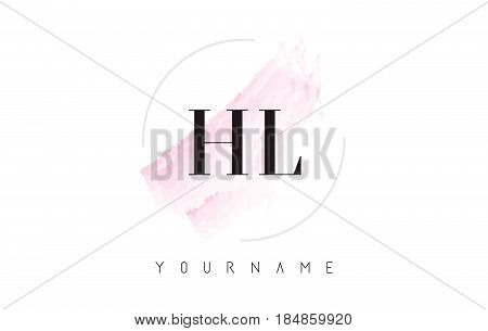 Hl H L Watercolor Letter Logo Design With Circular Brush Pattern.