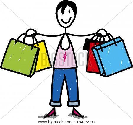 Stock Frau einkaufen isolierten auf weißen Hintergrund