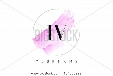 Le L E Watercolor Letter Logo Design With Circular Brush Pattern.