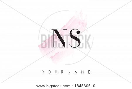 Ns N S Watercolor Letter Logo Design With Circular Brush Pattern.