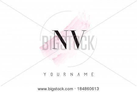 Nv N V Watercolor Letter Logo Design With Circular Brush Pattern.